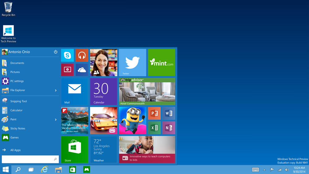 Microsoft Windows 10 start sceen